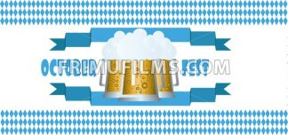 Vector Oktoberfest beer festival with blue ribbon and glasses of beer with foam over white background. - frimufilms.com
