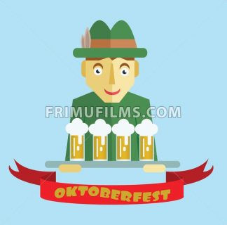 Vector Oktoberfest beer festival with cartoony hunter character, red ribbon and glasses of beer. - frimufilms.com