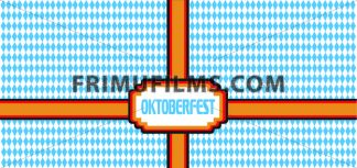 Vector Oktoberfest beer festival with german national flag colors ribbon over white and blue background. - frimufilms.com