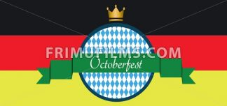 Vector Oktoberfest beer festival with green ribbon, golden crown and german national flag colors background. - frimufilms.com