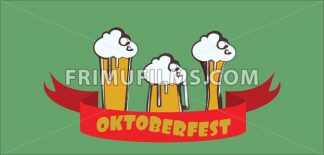 Vector Oktoberfest beer festival with red ribbon and glasses of beer with foam over green background. - frimufilms.com