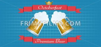 Vector Oktoberfest beer festival with red ribbon, golden crown and glasses of beer with foam over blue background. - frimufilms.com