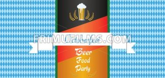 Vector Oktoberfest beer festival with white ribbon, glass of beer and german national flag colors background. - frimufilms.com