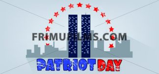 Vector Patriot Day, with red stars, usa flag and twin towers over silver background. - frimufilms.com