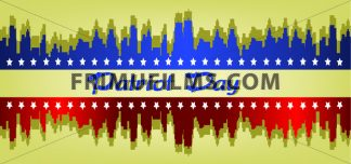 Vector Patriot Day, with stars and blue and red city buildings silhouette over khaki background. - frimufilms.com