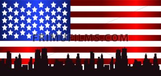 Vector Patriot Day, with usa flag and city buildings silhouette. - frimufilms.com