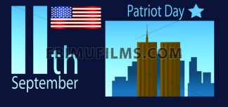 Vector Patriot Day, with usa flag and twin towers over blue background. - frimufilms.com