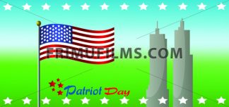 Vector Patriot Day, with usa flag and twin towers over green and blue background. - frimufilms.com