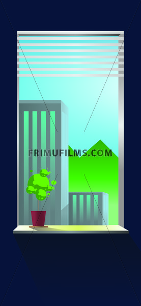 Vector abstract blue wall interior and view from window on buildings. - frimufilms.com