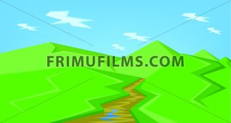 Vector abstract green landscape with a brown river and green hills with blue sky, flat style. - frimufilms.com