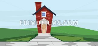 Vector flat cartoon style red two floor house near road. - frimufilms.com