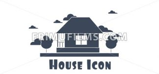 Vector flat style one floor house with trees and clouds silver icon. - frimufilms.com