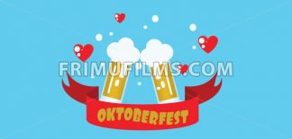 Vector flat style one floor house with trees, hearts and beer glasses over blue background. - frimufilms.com