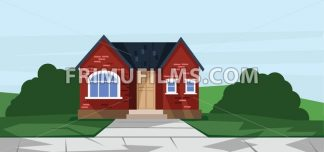 Vector flat style red one floor house with trees near road. - frimufilms.com
