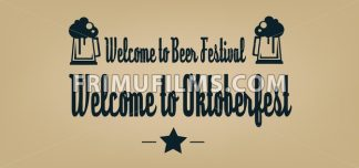 Vector welcome to Oktoberfest beer festival with a star and beer glasses over brown background. - frimufilms.com