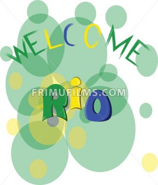 Welcome rio, colored hand drawn text on white backdrop. Digital vector image - frimufilms.com