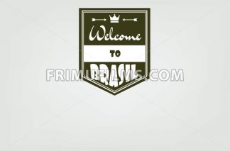 Welcome to Brasil card with crown and arrows over white background, in outlines. Digital vector image - frimufilms.com