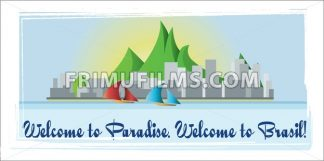 Welcome to Brasil paradise card with mountains, boats and city view over white background, in outlines. Digital vector image - frimufilms.com