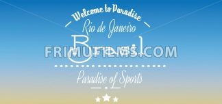 Welcome to Brasil paradise card with stars over blue background, in outlines. Digital vector image - frimufilms.com