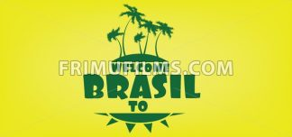Welcome to brasil card with an island and palm trees over yellow background, in outlines. Digital vector image - frimufilms.com
