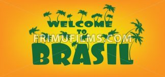 Welcome to brasil card with palm trees over orange background, in outlines. Digital vector image - frimufilms.com