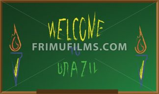 Welcome to brazil, colored hand drawn text witch chalk on green board, torch icons . Digital vector image - frimufilms.com