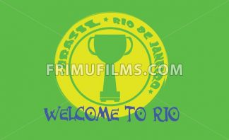 Welcome to rio card with a cup on yellow circle over green background, in outlines. Digital vector image - frimufilms.com