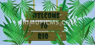 Welcome to rio text on planks card with palm branches over blue background. Digital vector image - frimufilms.com