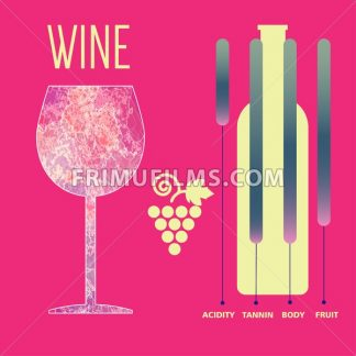 Wine tasting card infographic, yellow bottle over red background with grape sign and a purple glass. Digital vector image. - frimufilms.com