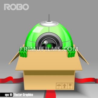 3d green robo eyeborg exiting from a brown box with red ribbon as a surprise. Big green and black eye and antenna, two hands. Digital vector image. - frimufilms.com