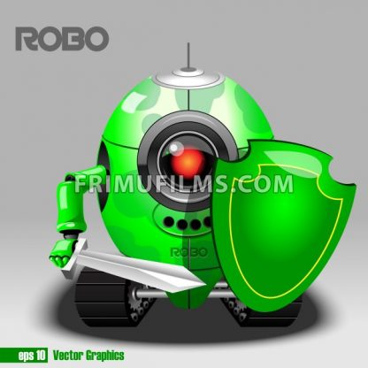 3d green robo eyeborg warrior with a sword and shield and moving as a tank. Big red and black eye and antenna. Digital vector image. - frimufilms.com
