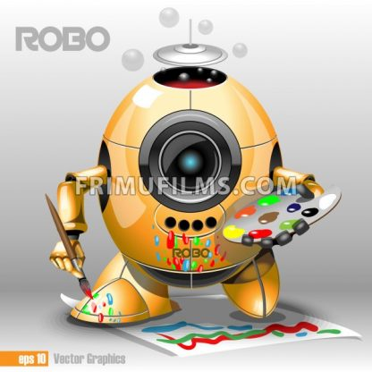 3d orange robo eyeborg painting with a pencil on a paper, holding in hand. Big blue and black eye and antenna, two feet. Digital vector image. - frimufilms.com