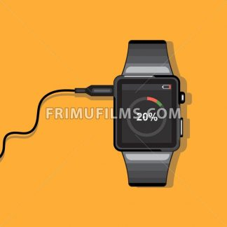 A black smart watch connected to a wire with battery status info icons on the display panel on an orange background, digital vector image - frimufilms.com