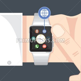 A black smart watch with time, calls, mail, contacts, battery and weather info icons on the display panel on a dark green background, digital vector image - frimufilms.com