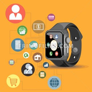 A black smart watch with time, calls, mail, contacts, battery and weather info icons on the display panel on an orange background, digital vector image - frimufilms.com