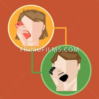 A female and a male in circle chatting via mobile phone, over a brown background, digital vector image - frimufilms.com