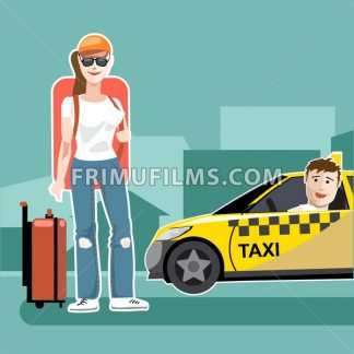 A girl tourist with luggage catching a taxi cab - frimufilms.com