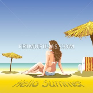 A girl with sun glasses and swimming suit at the beach and sea, near palms and beach chair with towel in lines. Hello summer, smiling sun. Digital vector image. - frimufilms.com