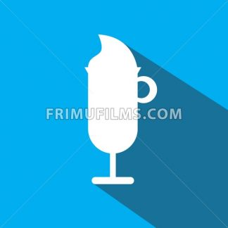 A glass of coffee with ice cream and shadow, in outlines, over a blue background. Digital vector image - frimufilms.com