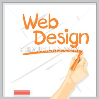 A hand with shadow drawing on a white table with orange color marker, web design inscription with underline, digital vector image - frimufilms.com