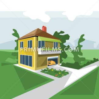 A house in 2 floors, view from perspective, with flowers at the balcony and a yellow car in the garage and green garden, digital vector image - frimufilms.com