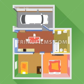 A house in section with a car in garage, a bathroom, a kitchen and 2 living rooms, top view, over a green background, digital image vector - frimufilms.com