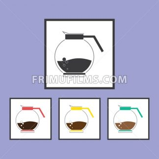 A jar of coffee with bubble set, in outlines, over a purple background. Red, yellow, green. Digital vector image - frimufilms.com