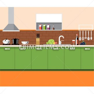 A kitchen plane with green furniture and brown bricks wall, with bottles, set of knives, wine, glasses, washstand and other accessories, digital vector image - frimufilms.com