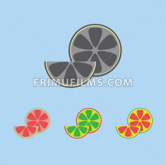 A lemon in section and a slice, in outlines, over a light blue background. Red, green, yellow and silver. Digital vector image. - frimufilms.com