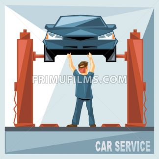 A mechanic in blue suit fixing a blue car in car service, over silver background, digital vector image - frimufilms.com