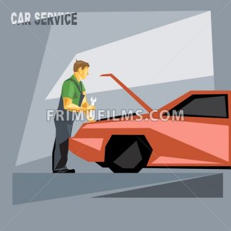 A mechanic in green and silver suit with tools, fixing a red car in car service, over silver background, digital vector image - frimufilms.com