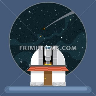A new telescope with antennas and view to space and stars. Digital vector image. - frimufilms.com