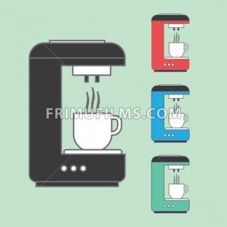 A set of coffee machines pouring hot coffee in white cups, over a light green background. Red, blue and green. Digital vector image - frimufilms.com