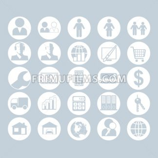 A set of people, business and construction icons on a white blue background, digital vector image - frimufilms.com